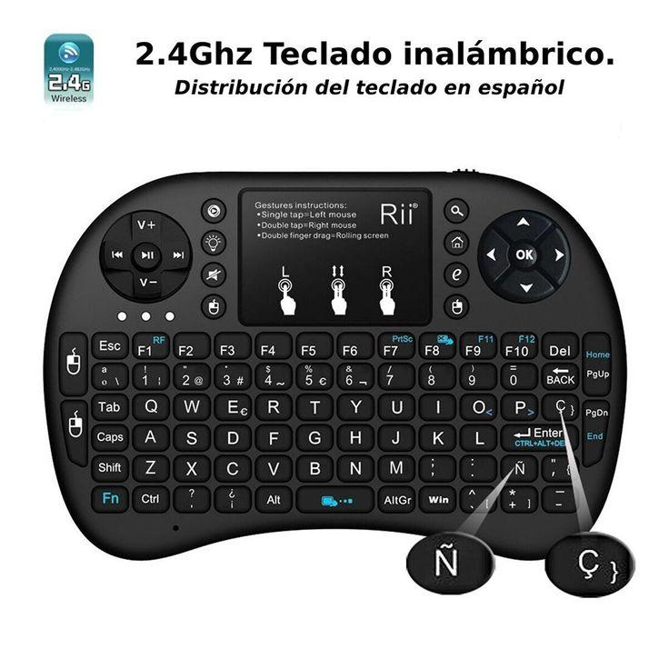 Rii mini i8+ Mini teclado ergonómico con ratón tipo touchpad incorporado – Novedad 2015, con Luz de fondo