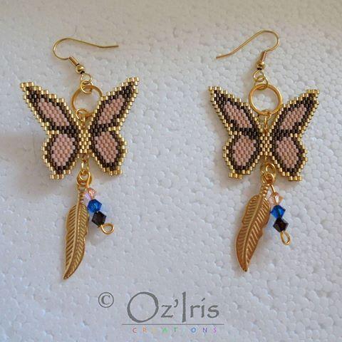 #brickstitch #beads #miyukibeads #earrings #bouclesdoreilles #perles #peyote #tissageperles #butterfly #butterfly #golden #cute #handmade #faitmain #diy #artisancraft