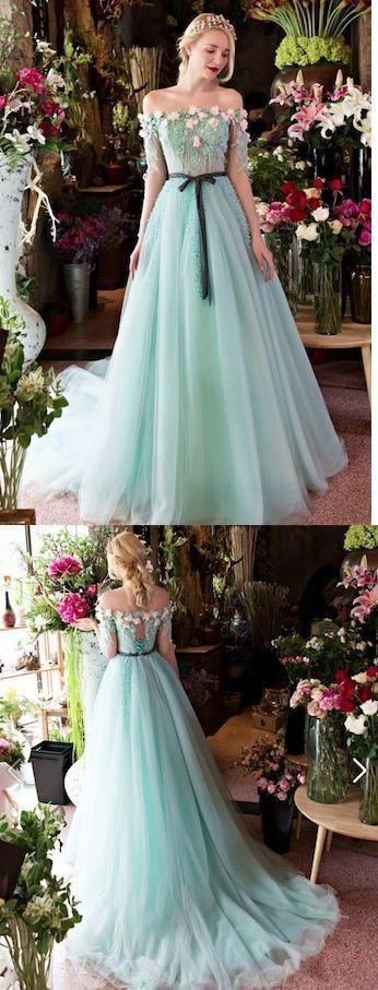 Princesses Wedding Dress,Wedding Dresses, Romantic Summer Wedding Dress Boho Off the shoulder Blue Bridal Gown by DestinyDress, $277.39 USD