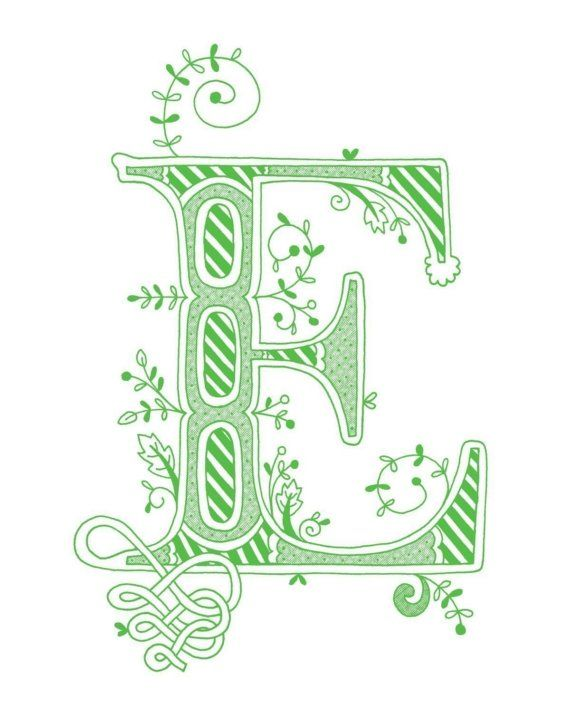 Hand drawn monogrammed print 8x10 the Letter E in by jenskelley, $15.00