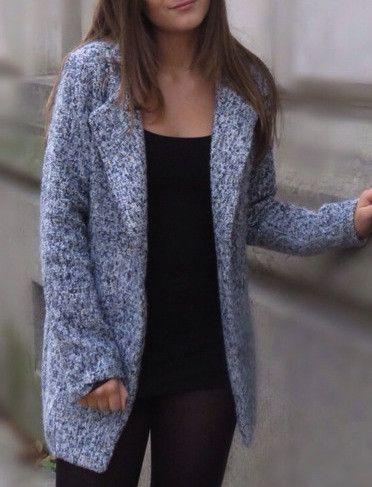 Coat Grey Long Tweed Button Fall Winter Jacket