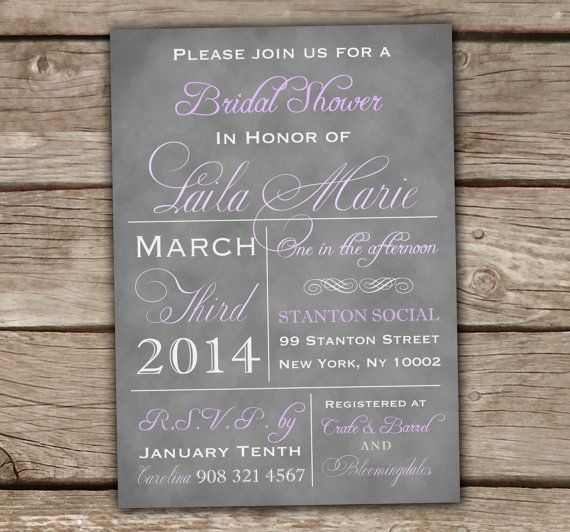 Vintage Typography Bridal Shower Invitations - Printed, Grey, Lilac, Lavender, Purple, Baby Shower, Couples Shower, Wedding - chitrap.esty.com