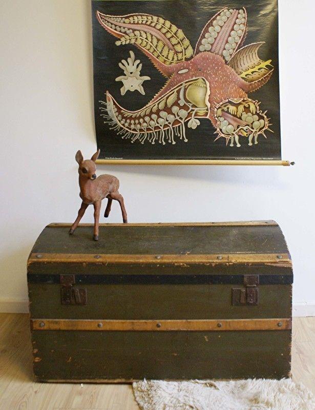 Grote vintage kist. Antieke/brocante houten hutkoffer