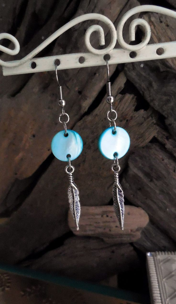Tribal Earrings, Modern, Shells, Silver Plated Feather, Light Blue Color, Hypoallergenic Stainless Steel Hooks, Lightweight