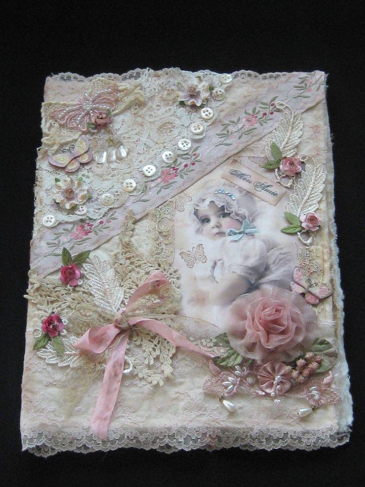 Shabby Mixed Media Collage Baby Album Fabric Journal  - Lace and Ribbonwork #ShabbyChic