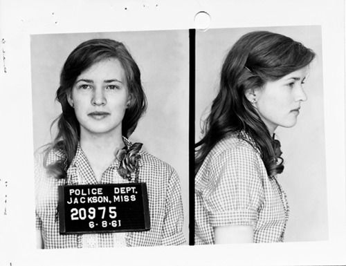 Joan Trumpauer Mulholland, 1961.  Joan, a 19 year old Freedom Rider, was sentenced to two months in prison for her involvement in the integration of a Jackson, Mississippi bound train.  She served more than the required two months because each addition day reduced her fine by 3 dollars. In the Fall of 1961, Joan transferred from Duke University to historically black Tougaloo Southern Christian College because she felt integration should be a two way street.