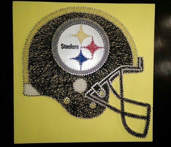 Pittsburgh Steelers Helmet String Art Wall Decor by KimmiesNSA www.kimmiesnailstringart.com