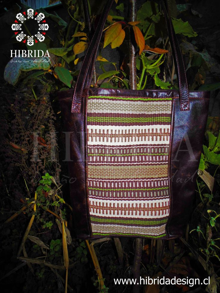 www.hibridadesign.cl 100% cuero y telar mapuche