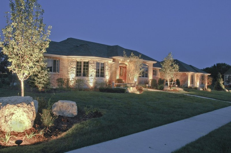 House Ground Lighting | Outdoor Accents Lighting Ranch House | Home Stuff |  Pinterest | Curb Appeal, Lights And House