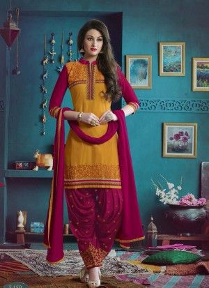Exceptional Yellow & Red Cotton Patiyala Salwar Suite