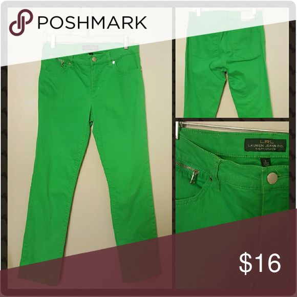 Ralph Lauren Skinny Jeans Like new! Green Skinny jeans Two back pocketz Small side zipper  Size 6 Average Ralph Lauren Jeans Skinny