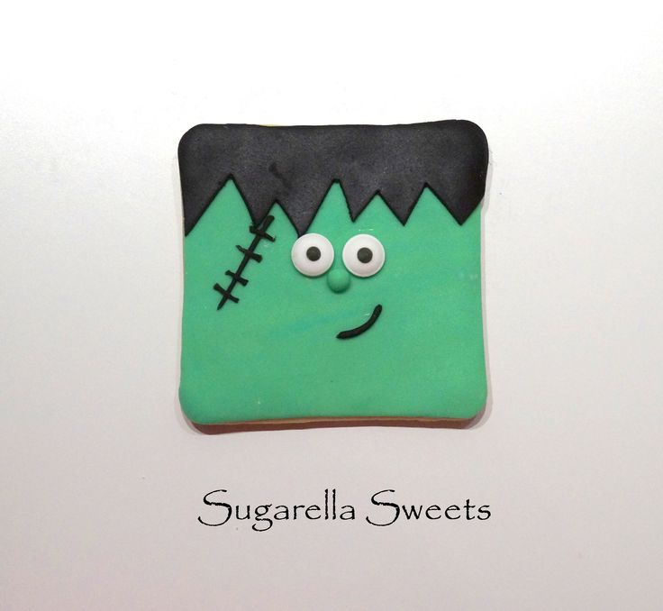Halloween frakenstein cookie. Perfect  to give away as party favors. Go to www.SugarellaSweets.com for more ideas