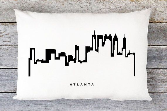 Atlanta Skyline Pillow Cover  Atlanta Skyline Throw by AldariHome