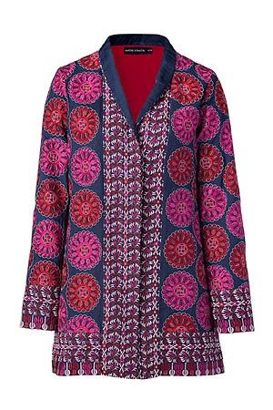 Blue multicolor embroidered jacket by ANTIK BATIK