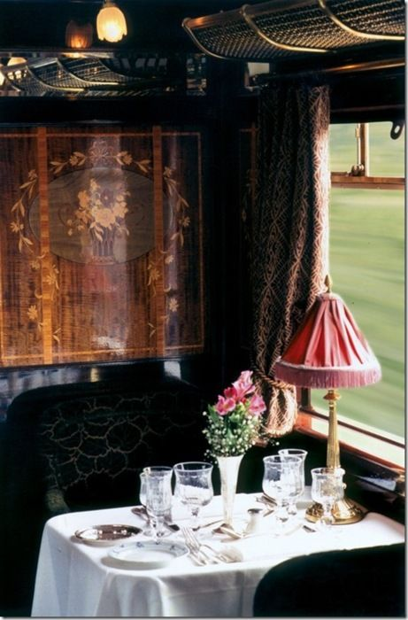 The Orient Express. Even if I could afford to go on The Orient Express I couldn't bear it if the other passengers didn't enter in to the spirit of it. I once saw a woman boarding this beautiful train in a shell suit!!!