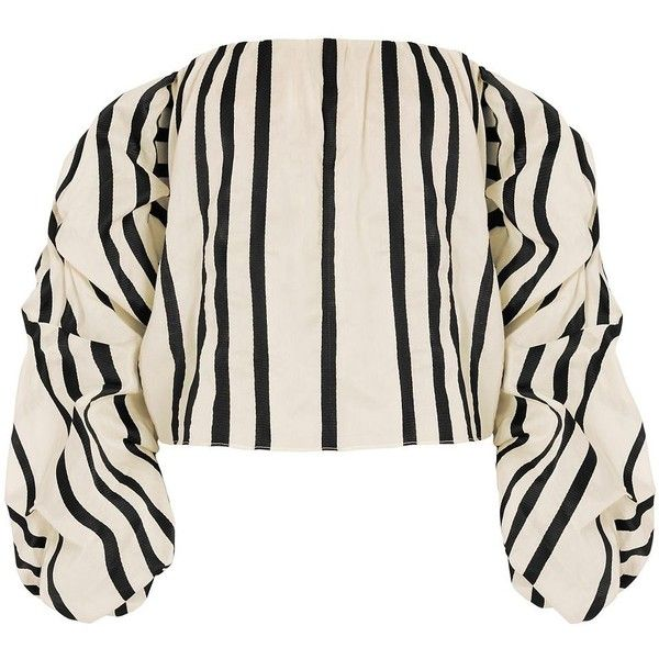 Johanna Ortiz Frida Striped Top ($1,080) ❤ liked on Polyvore featuring tops, smocked top, smock tops, striped long sleeve top, off shoulder long sleeve top and striped bandeau top