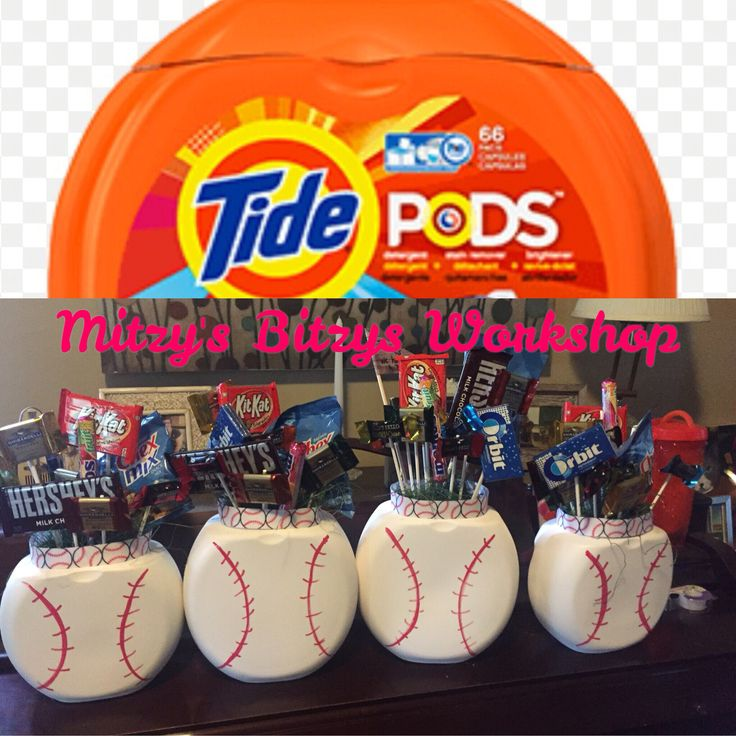 "Tide Pods Containers made into Baseball ""candy bouquet"" Thank you gift for coaches!"