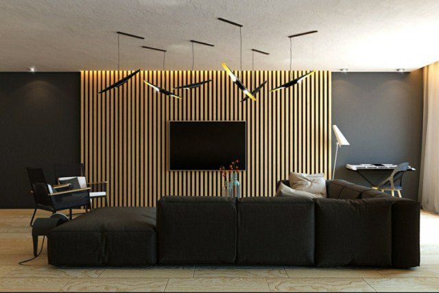 lambris mural lamelles suspensions-canapé-angle-noir-salon