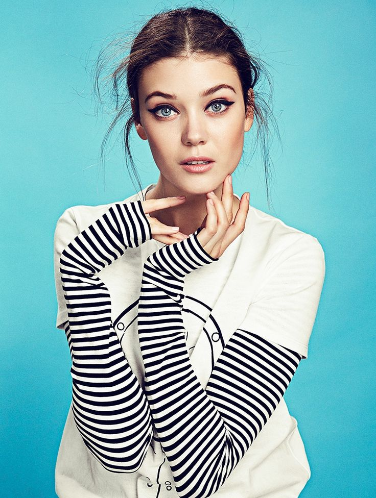 Diana Moldovan embraces stripes in a Max Mara t-shirt and long sleeve top