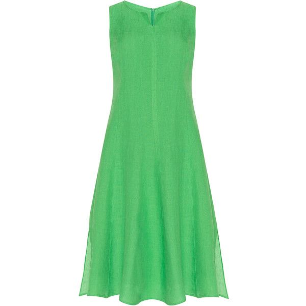 navabi Green Plus Size Linen dress ($145) ❤ liked on Polyvore featuring dresses, green, plus size, linen dresses, plus size dresses, midi flare dress, womens plus dresses and green midi dress