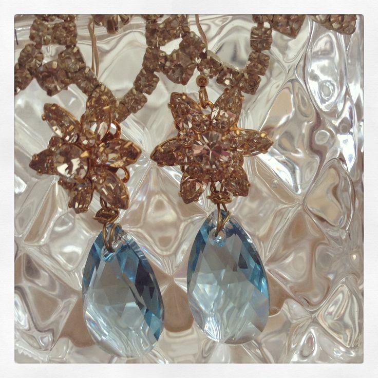 Aqua Blue Crystal Flower Earrings, Sonia M Designs