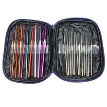 Portátil y duradero 22 unids mezcló Color aluminio Crochet Hooks agujas de tejer hilados Kit conjunto caso hogar herramientas de costura(China (Mainland))