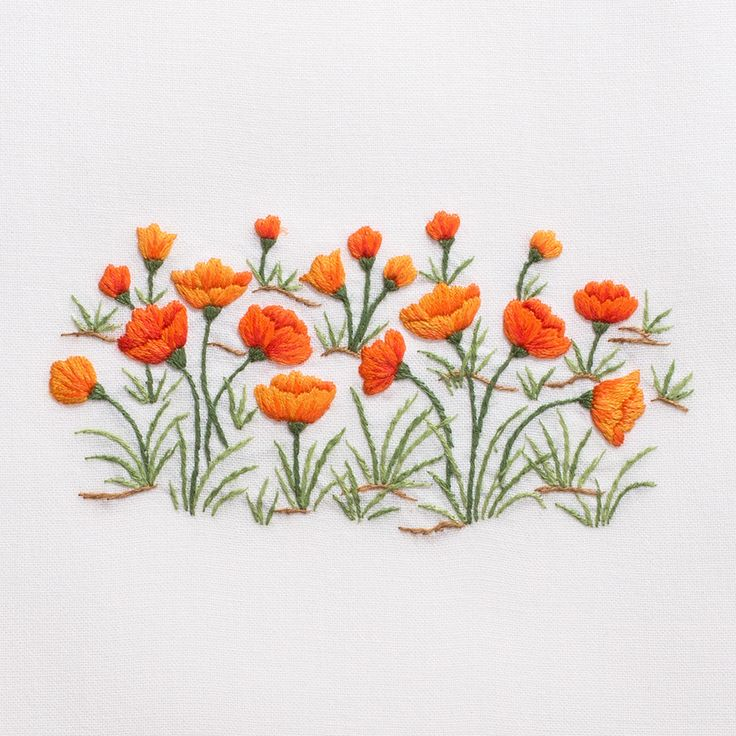 Poppies<br>Hand Towel - White Cotton