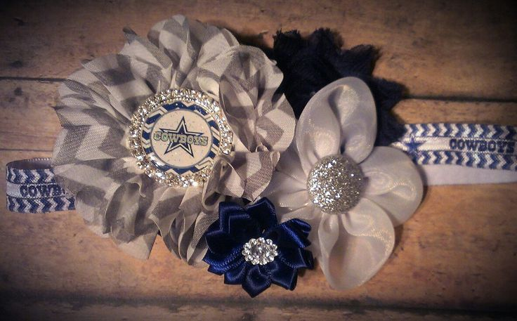 Dallas Cowboys foe headband with detachable flower cluster clip made by Creative Creations