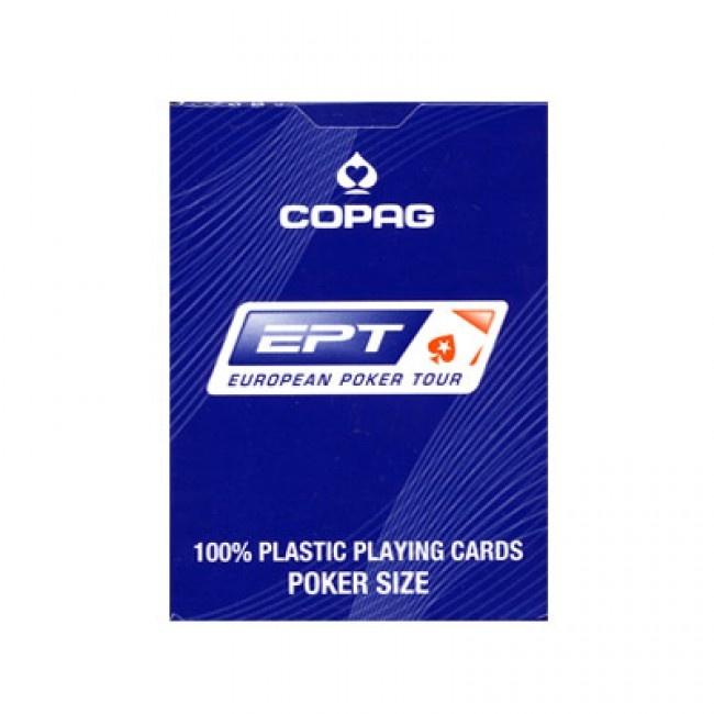 COPAG EPT speelkaarten blauw. De PokerStars European Poker Tour heeft het Braziliaanse kaarten merk Copag gevraagd om de speelkaarten van de EPT te maken. Deze pokerkaarten zijn van de vertrouwde kwaliteit die je van Copag gewend bent en afgewerkt aan de achterkant met het EPT logo, het Cartamundi en Copag logo. De EPT al jaren de bekendste en meest prestigieuze live poker toernooien ter wereld.