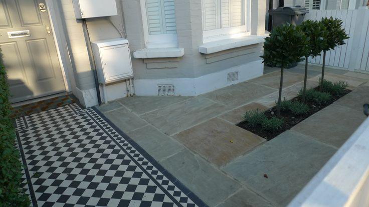 front garden victorian mosaic tile garden path sandstone paving formal topiary bay tree planting balham clapham dulwich battersea london