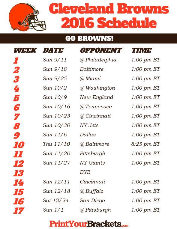 Cleveland Browns Schedule - 2016