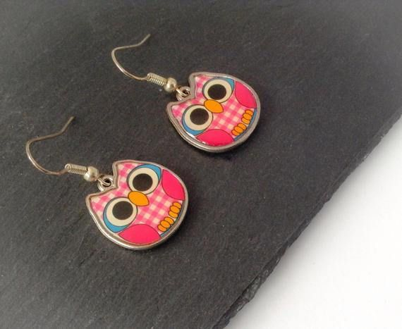 Owl Dangle Earrings Bird Earrings Bird Lover Gift Woodland