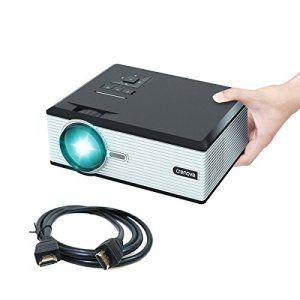 Vidéoprojecteur, Crenova XPE470 Mini Vidéoprojecteur Projecteur 130〃 vidéo HD 1080P via lecteur USB iPad iPhone pour Film Maison – Noir