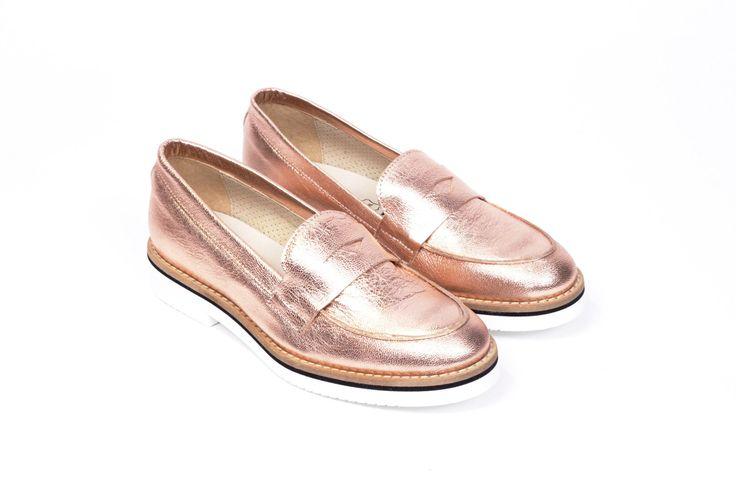 miMaO Mocasín Hastag Cobre –  zapato mujer plano cómodo oro piel ante - Comfort women's flat shoes moccasin golden cooper suede leather