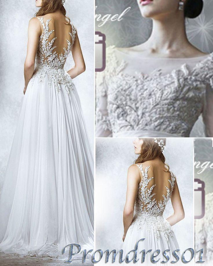 Long prom dress, 2015 elegant new white lace chiffon sleeves open back long prom dress for teens, ball gown, wedding dress, evening dress #promdress #wedding