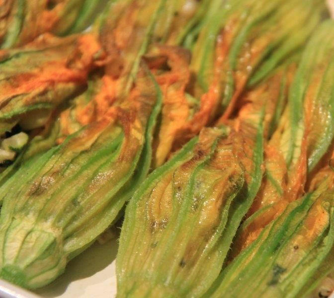 baked stuffed zucchini flowers (not fried) squash blossoms, parmigiano reggiano, healthy alternative, quick to make, easy recipe