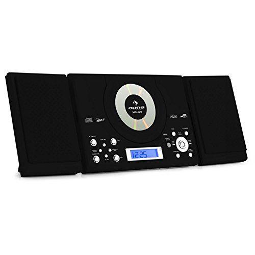 Auna MC-120 – Mini chaine stéréo ultra plate avec tuner radio FM, USB et lecteur CD MP3 (télécommande, fonction réveil) – Noir: Les…