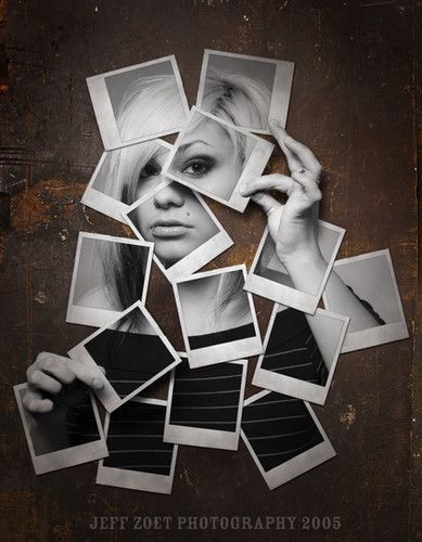 polaroid  - pictures taken of different facial features combined to show the woman