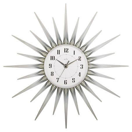 CONTEMPORARY CHROMED STARBURST CLOCK