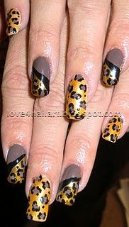 Here is a perfect design for FALL. :) A great smokey brown and warm golden design! Items I Used:  Ruby Kisses Sunflower (gold)  SinfulColors Professional Nirvana (smokey brown)  Black Acrylic Paint  Dotting Tool  Nail Striping Brush Love this look. The alternating nail design makes the leopard nails POP! Of course you could always just stick with one design on each nail.. Makeup Man | Nail acrylic nail courses