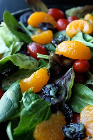 The You-Don't-Need-to-go-out-for-a-Great-Salad Salad. Baby Spinach, Mandarin Oranges, Dried Cherries, Shrimp or Chicken and a great sweet-spicy dressing with cilantro.