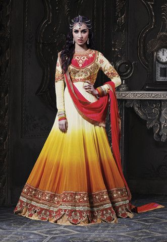 Exclusive Yellow and Orange coloured semi stitched salwar suit