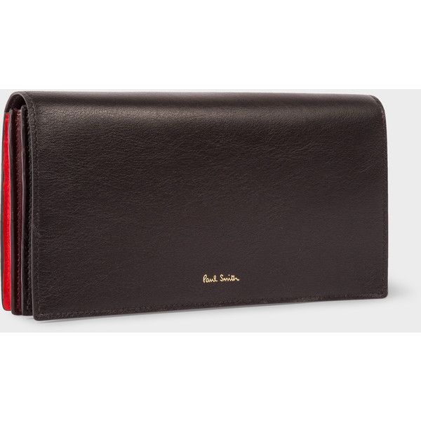 Paul Smith Women's Black And Red 'Concertina' Tri-Fold Purse ($400) ❤ liked on Polyvore featuring bags, wallets, black, leather trifold wallet, genuine leather wallet, zipper wallet, leather credit card holder wallet and paul smith