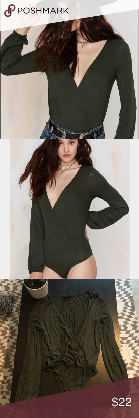 NWOT Nast Gal Camille bodysuit NWOT Nasty Gal Olive Green plunge front bodysuit. Size Large. Nasty Gal Tops Blouses