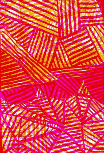 Painted and digital pink and orange pattern - Sarah Bagshaw