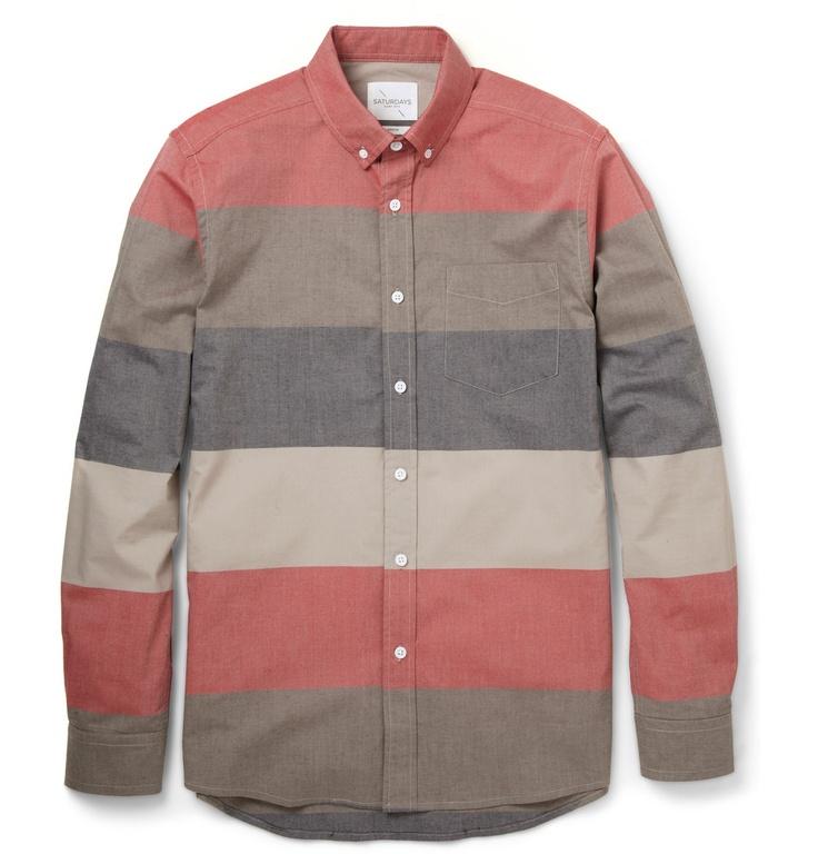 Saturdays Surf NYCCrosby Slim-Fit Striped Cotton-Poplin Shirt|MR PORTER