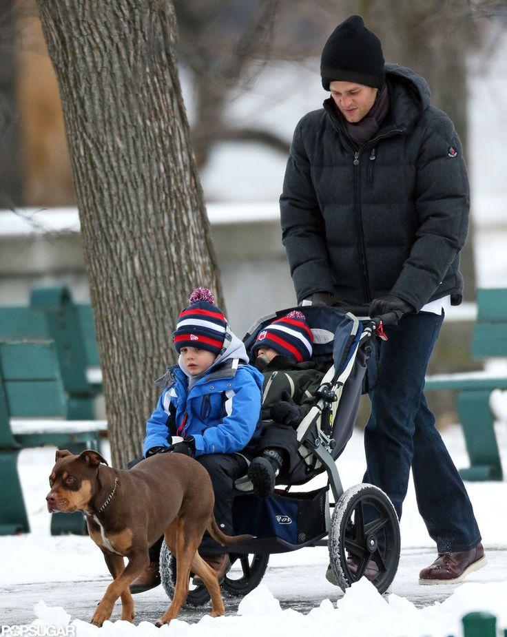 Tom Brady and His Boys Have an Adorable Snow Day: Tom Brady took his boys and his dog, Lua, out for a walk.