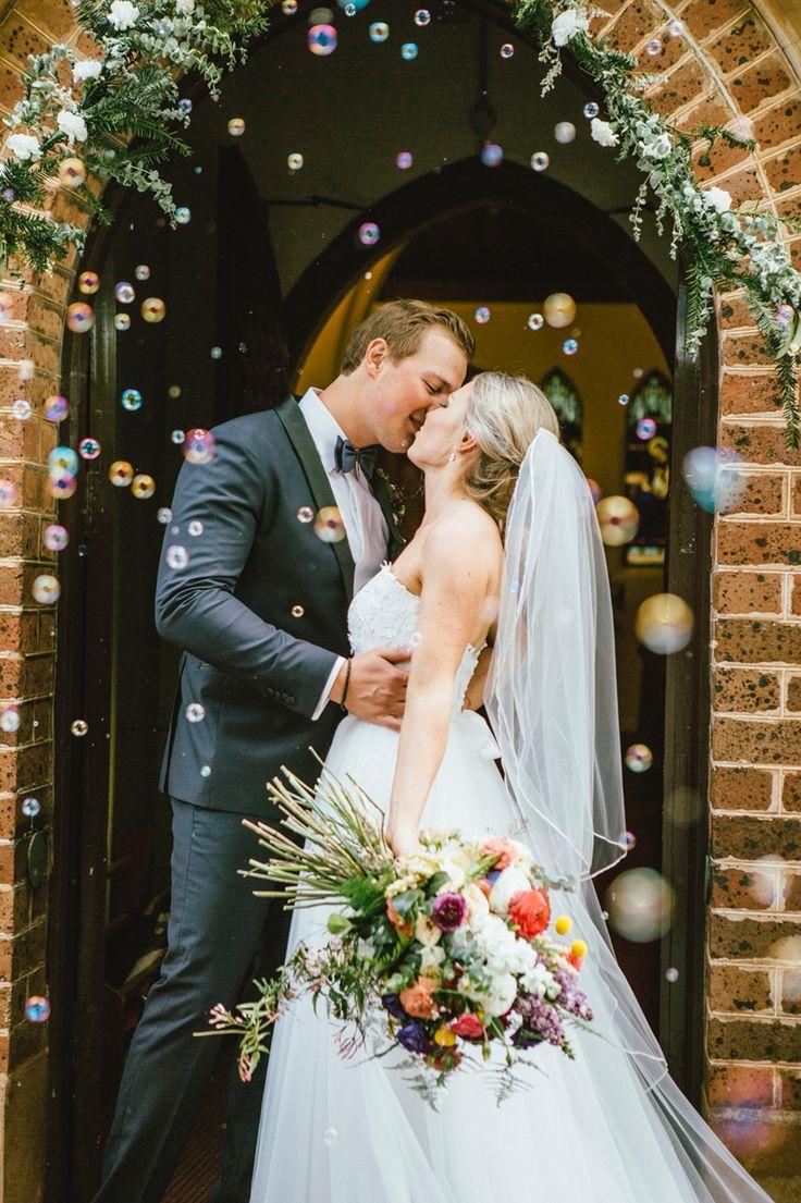 Wedding day, enchanted forest wedding, bubble confetti, Bowral, church