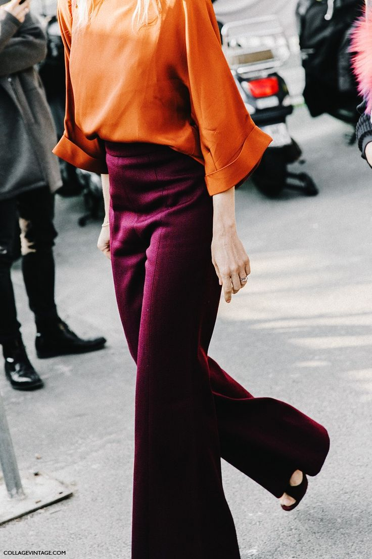 1 June 2016 - fire tones. silk or satin blouse, paired with maroon slacks. PFW-Paris_Fashion_Week-Spring_Summer_2016-Street_Style-Say_Cheese-Celine-1