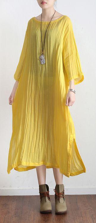 yellow linen dress casual plus size ruffles sundress bracelet sleeved maxi dress